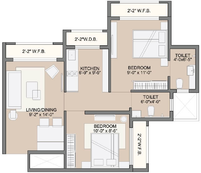 sunteck west world apartment 2bhk 450sqft 1