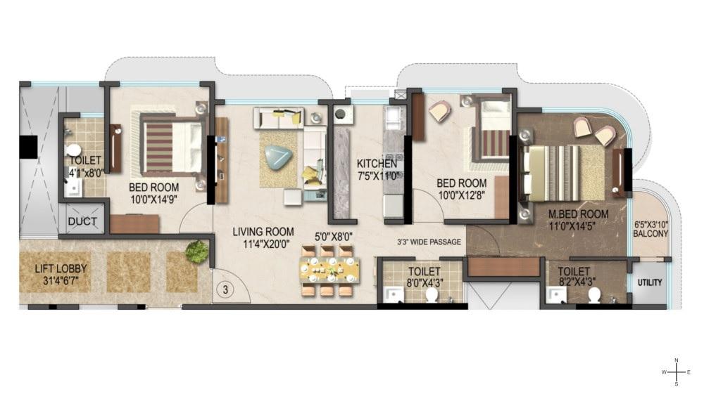 suvidha pearl apartment 3 bhk 996sqft 20205112235149