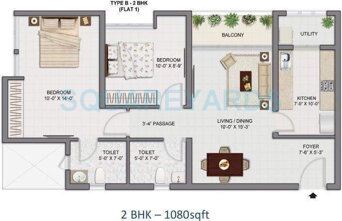 tata amantra apartment 2bhk 1080sqft1