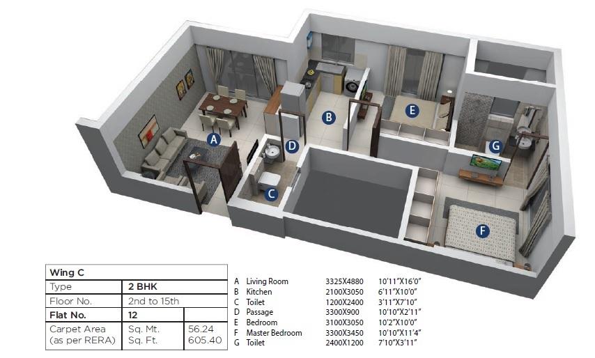 terraform dwarka phase 2 apartment 2bhk 605sqft 1