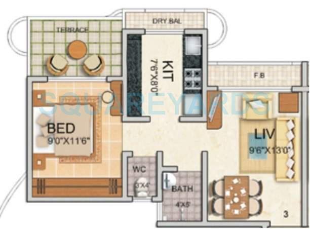 tharwani vedant millenia apartment 1bhk 650sqft1
