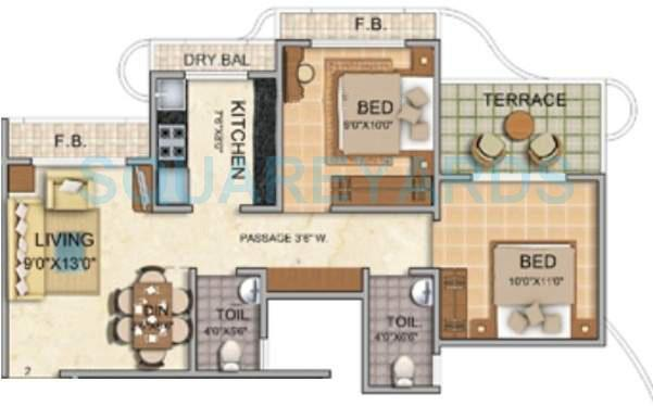 tharwani vedant millenia apartment 2bhk 930sqft1