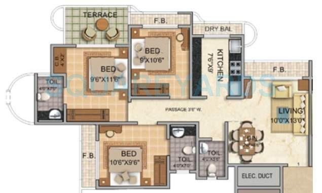 tharwani vedant millenia apartment 3bhk 1180sqft1