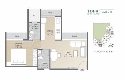 tricity luxuria apartment 1bhk 655sqft 1