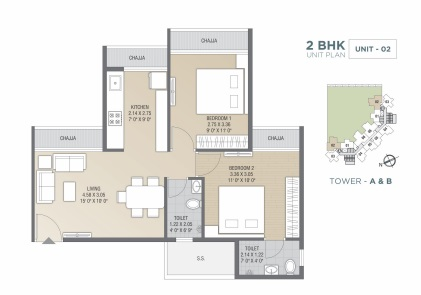 tricity luxuria apartment 2bhk 961sqft 1