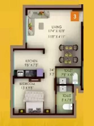 unity venus heights apartment 1 bhk 528sqft 20214919134938