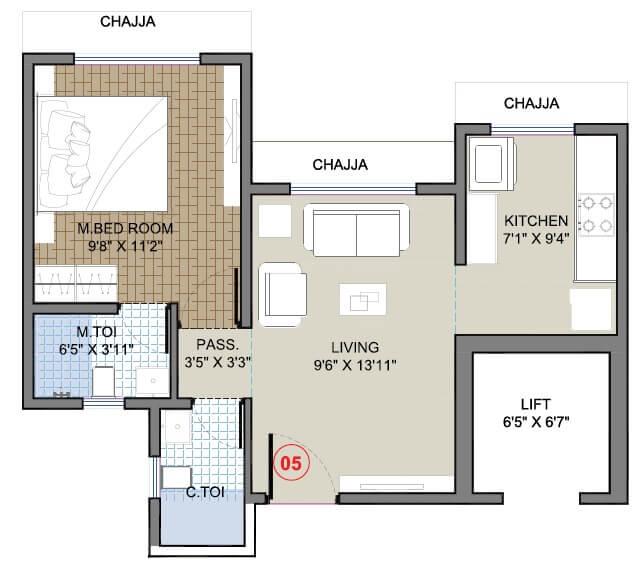 vaibhavlaxmi templum heights apartment 1bhk 388sqft 1
