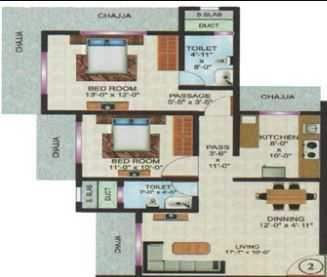 vardhaman flora phase 1 apartment 2 bhk 730sqft 20214125174152