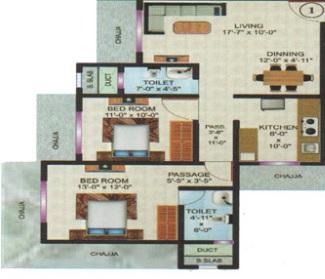 vardhaman flora phase 1 apartment 2 bhk 813sqft 20214506154517