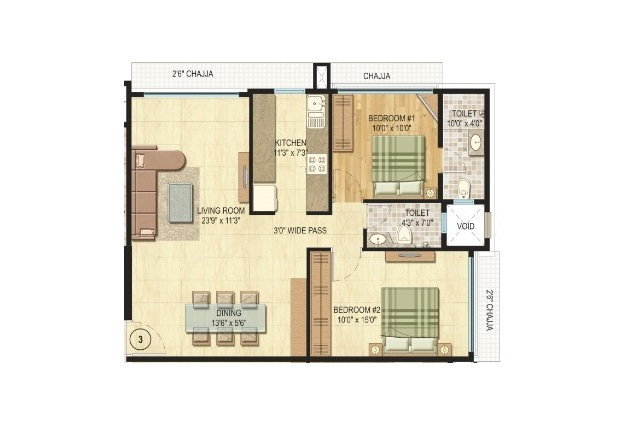 vijay khetan krishna residences apartment 2 bhk 801sqft 20204003114007