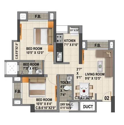 viraj heights apartment 2bhk 493sqft 1