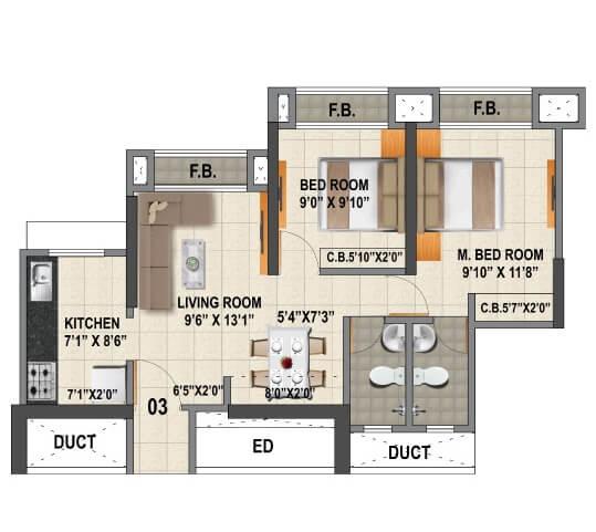 viraj heights apartment 2bhk 522sqft 1