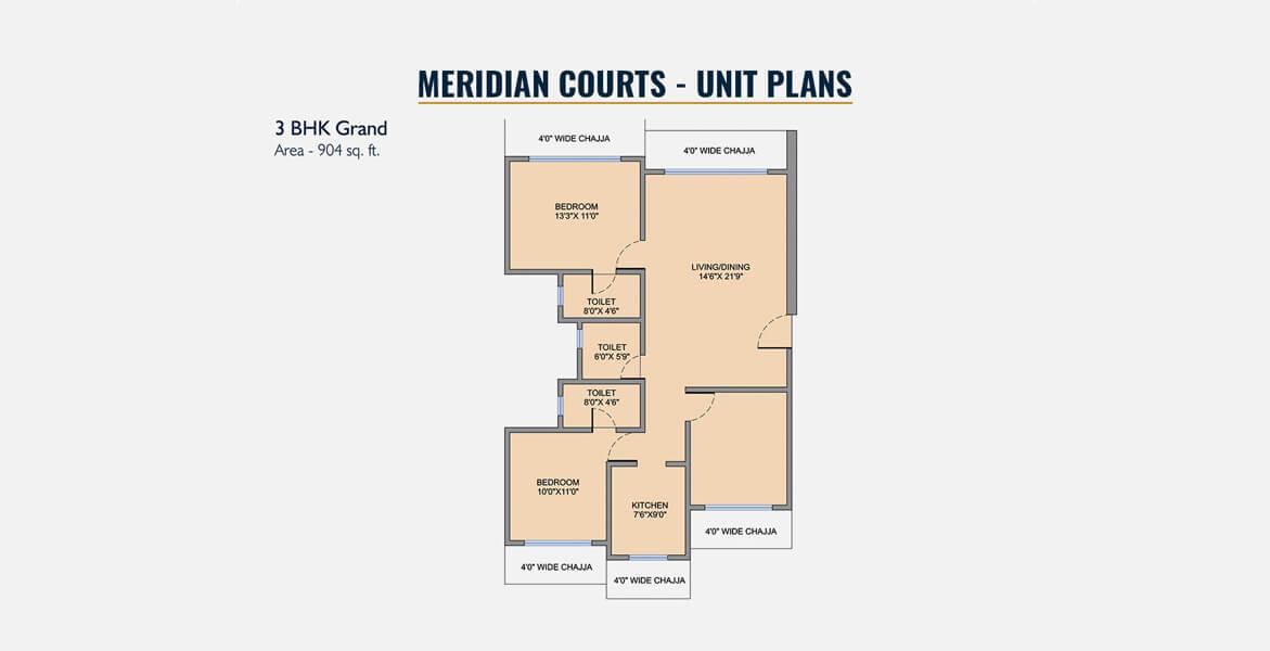 west center meridian courts apartment 3bhk 1490sqft 1
