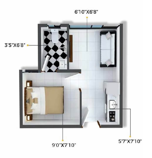 xrbia crystal apartment 1bhk 186sqft 1