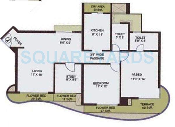 adhiraj cyprees aqua apartment 2bhk 1284sqft1