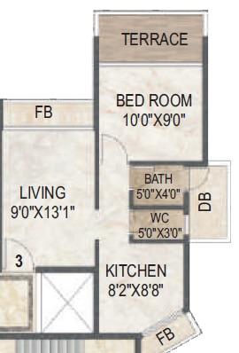 akshar evita apartment 1bhk 735sqft 1