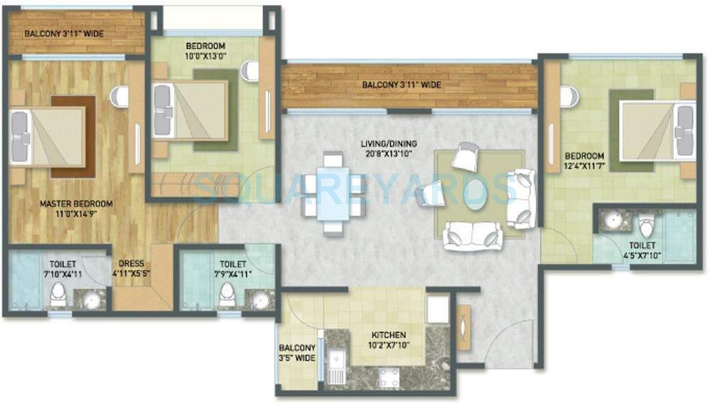 indiabulls golf city apartment 3bhk 1599sqft1