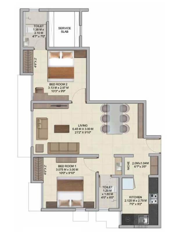 wadhwa wise city apartment 2bhk 628sqft 1