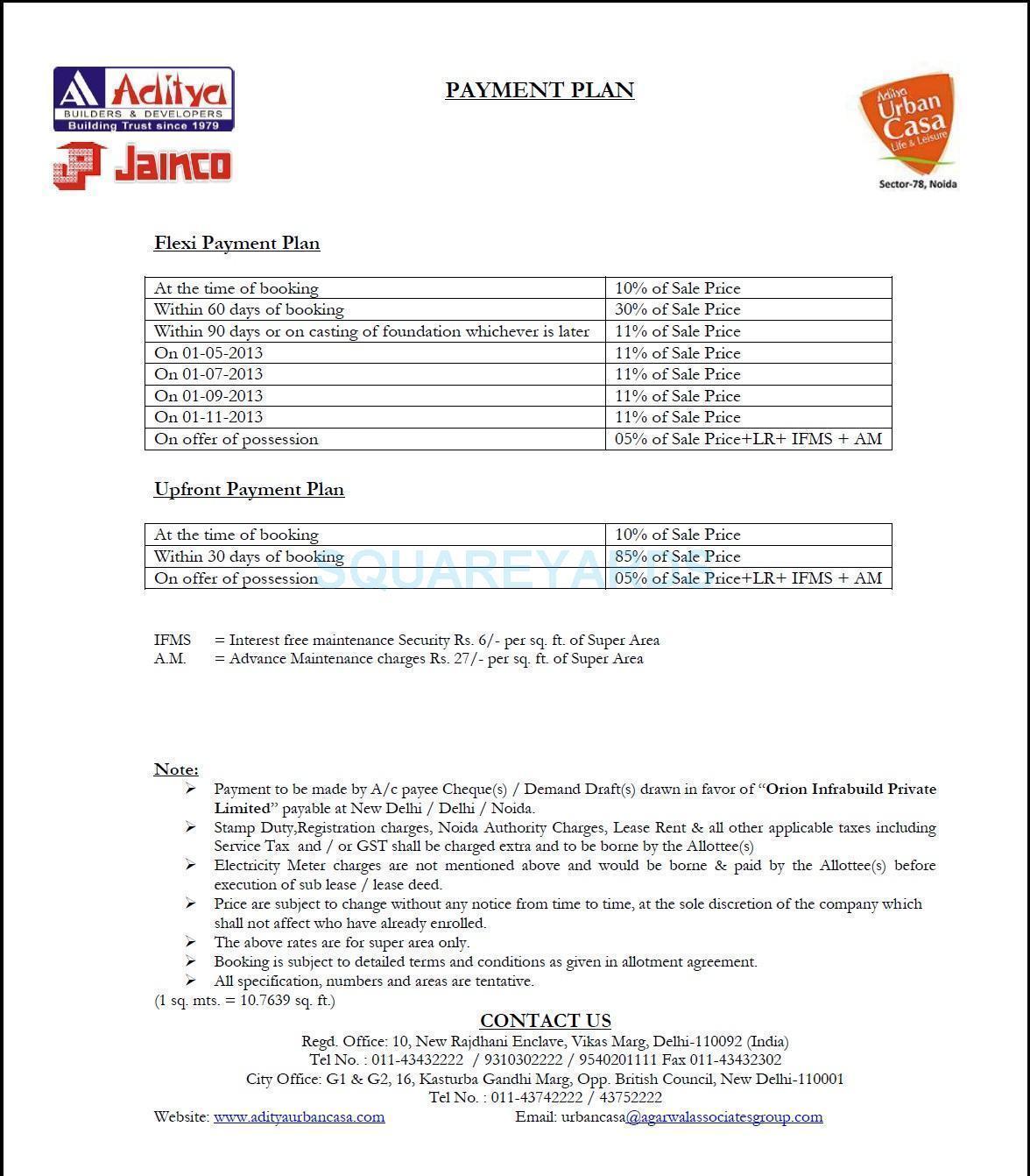 aditya urban casa payment plan image2