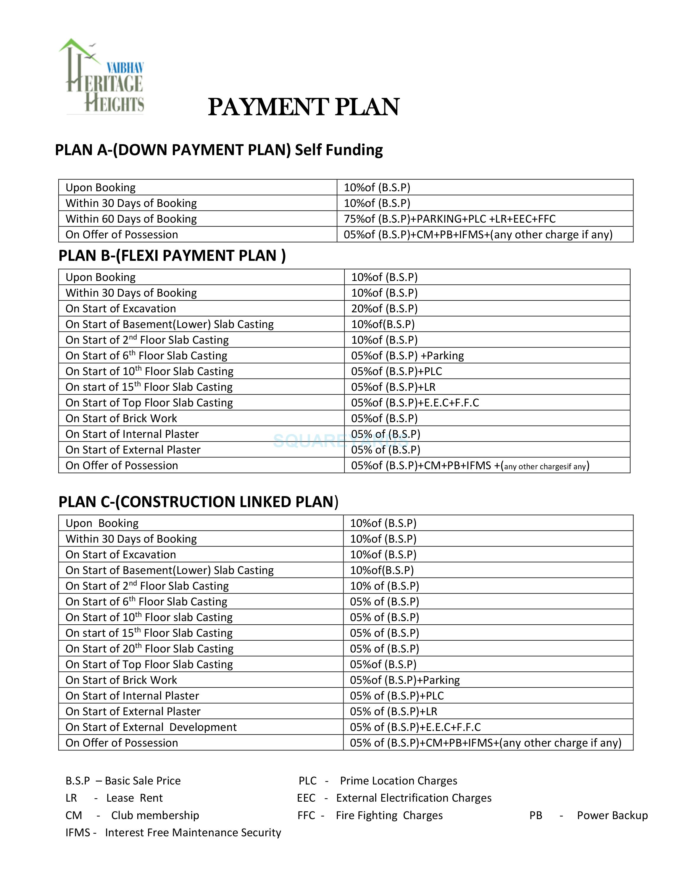 bsb vaibhav heritage height payment plan image1