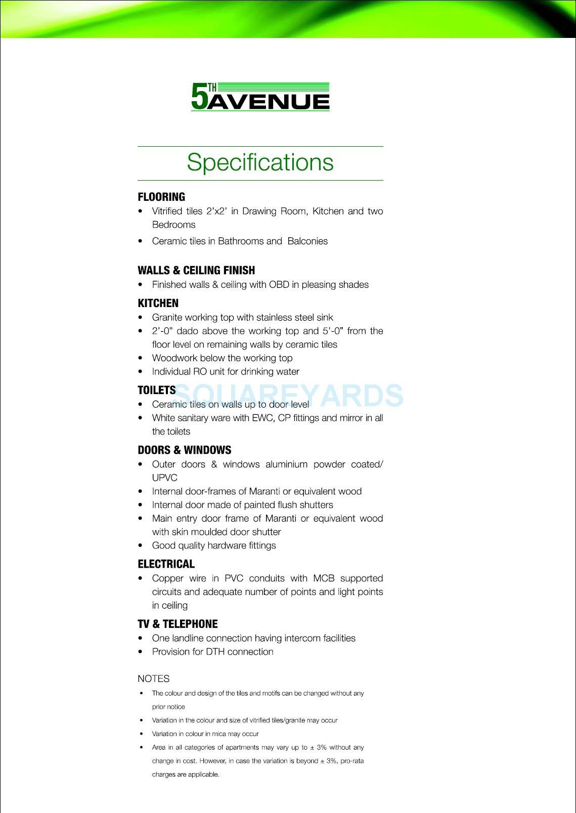 gaur city 5th avenue specification1