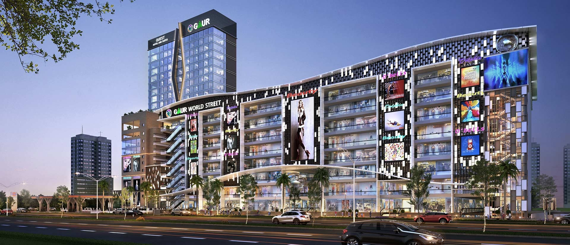 gaur world street tower view6