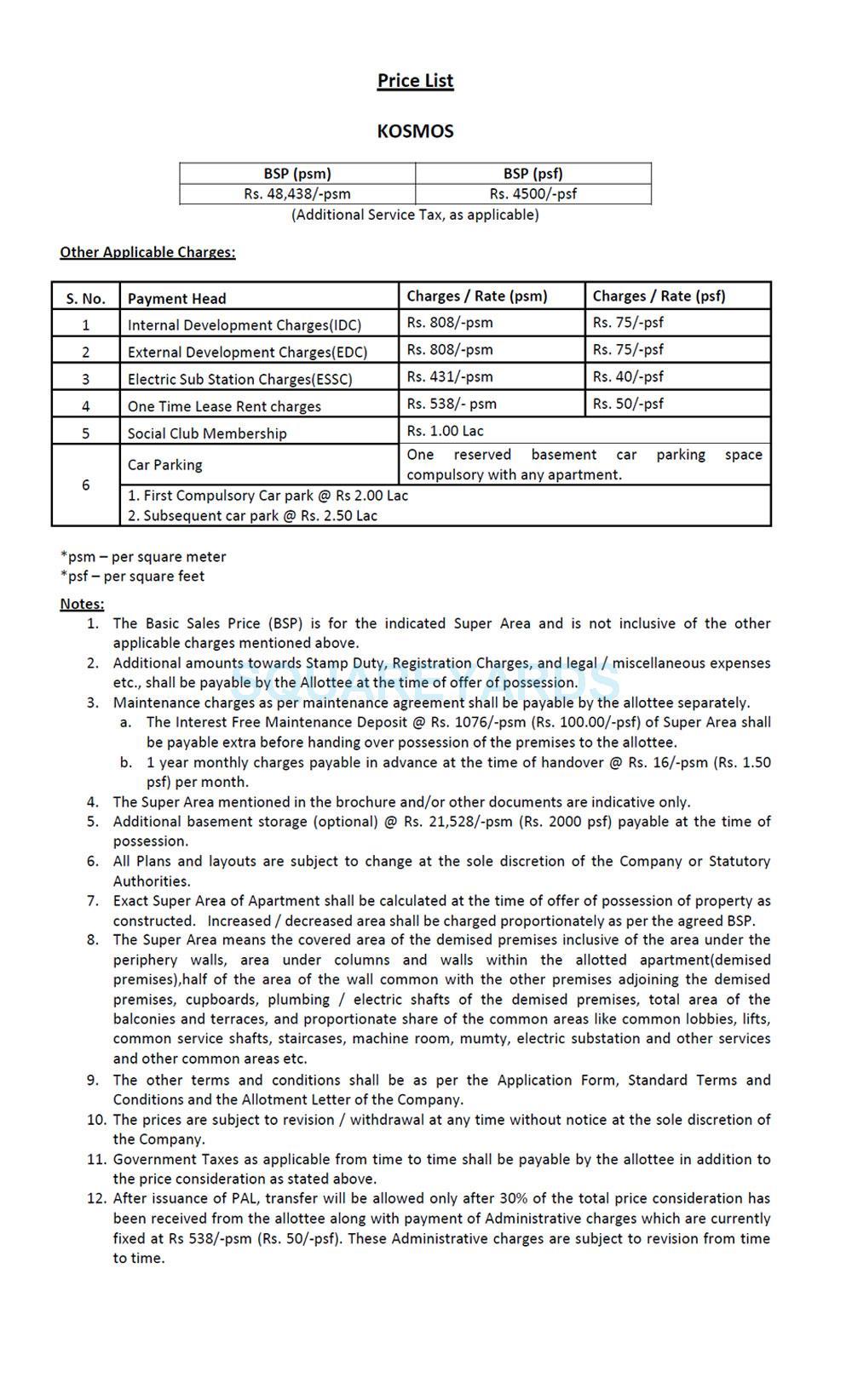 jaypee kosmos payment plan image2