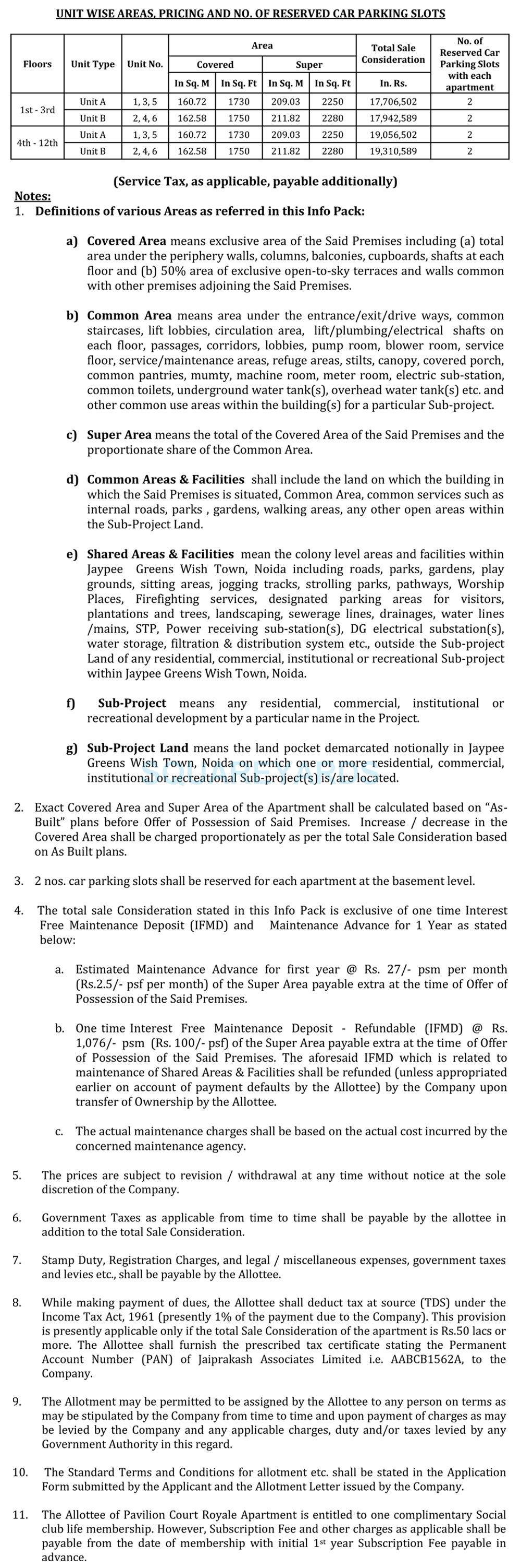 jaypee pavilion court royale payment plan image2