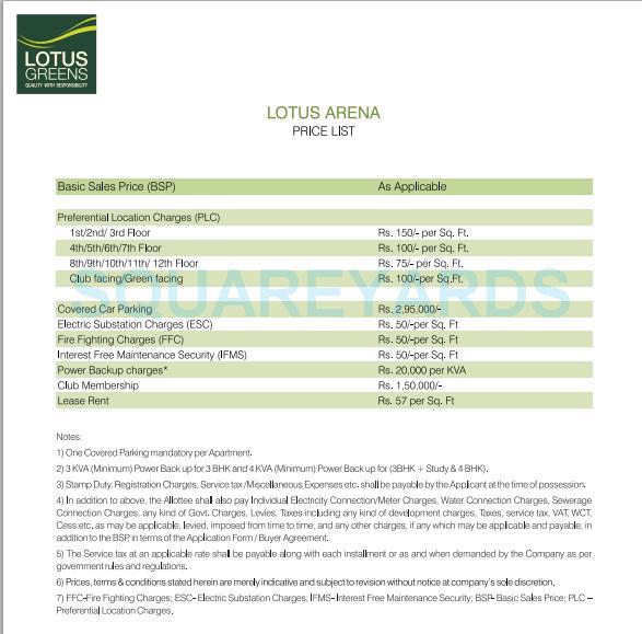 lotus green arena payment plan image2
