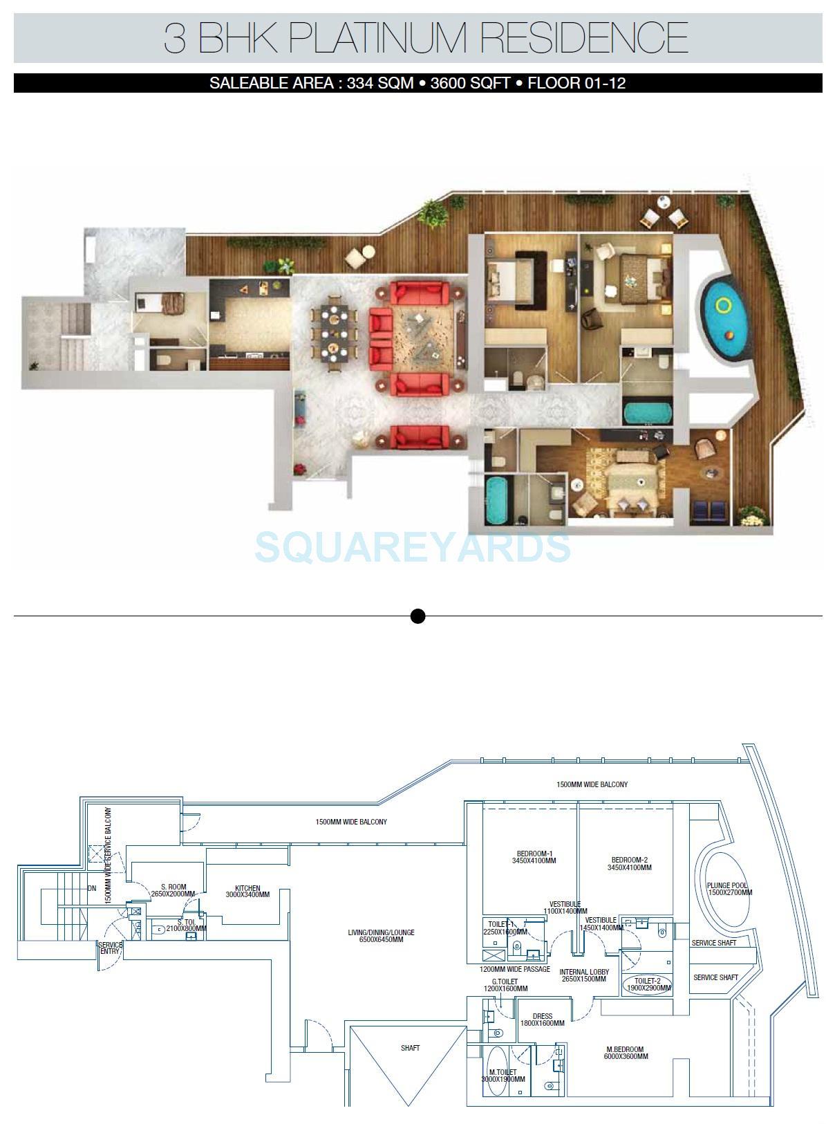 3c lotus 300 apartment 3bhk 3600sqft 1