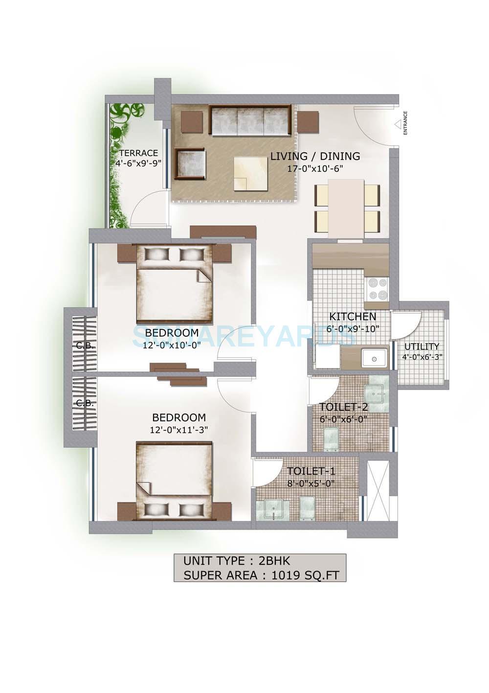 3c lotus boulevard apartment 2bhk 1019sqft 1