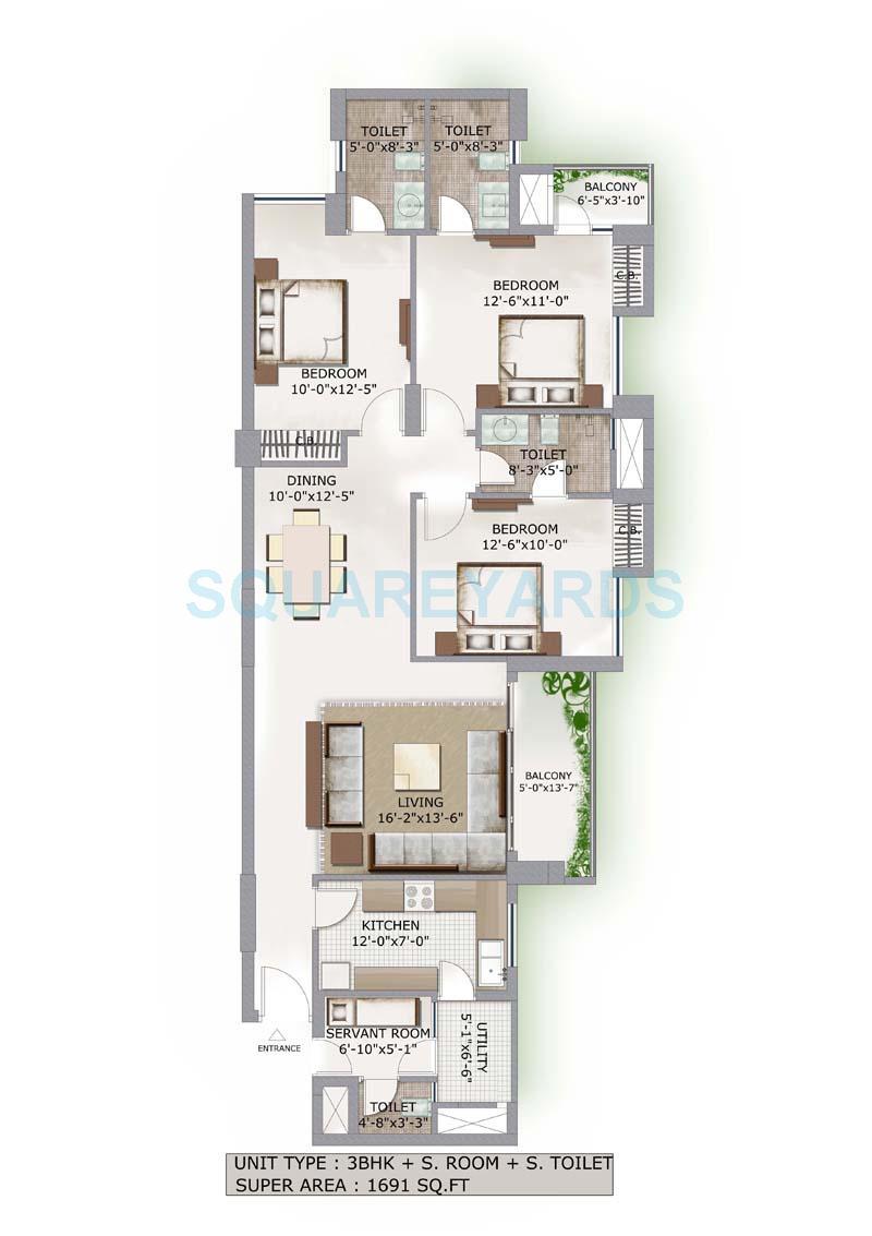 3c lotus boulevard apartment 3bhk sq 1601sqft 1