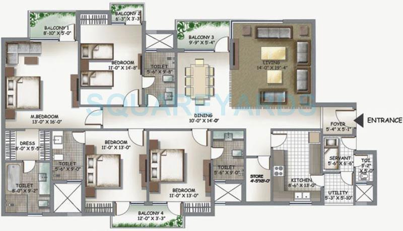 3c lotus boulevard espacia apartment 4bhk sq 2560sqft 1