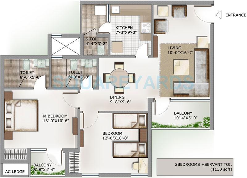 3c lotus panache apartment 2bhk sq 1130sqft 1