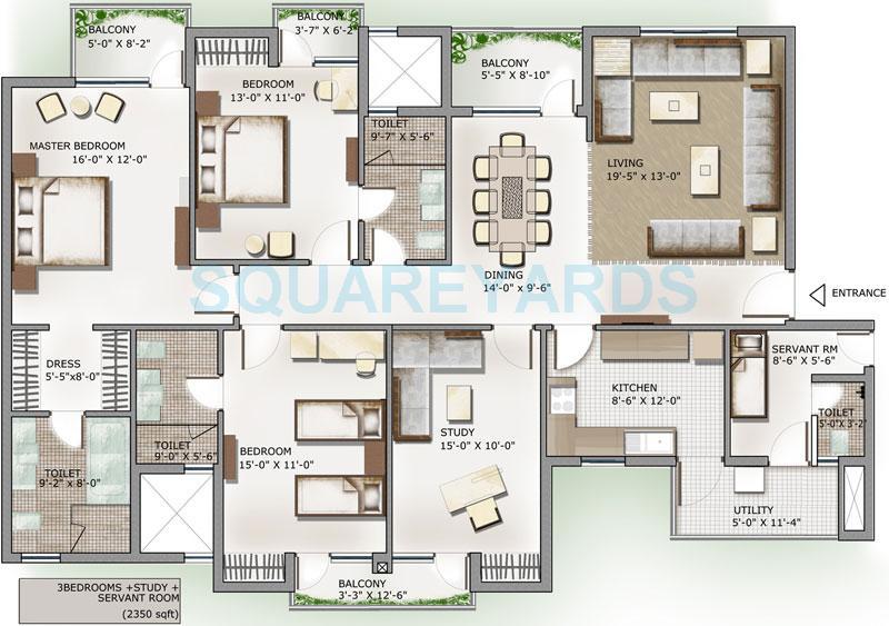 3c lotus panache apartment 3bhk st sq 2350sqft 1