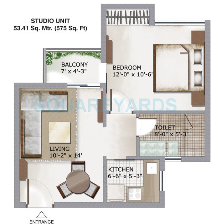 3c lotus zing apartment 1bhk 575sqft 1