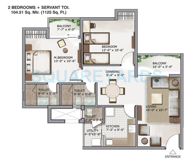 3c lotus zing apartment 2bhk sq 1125sqft 1