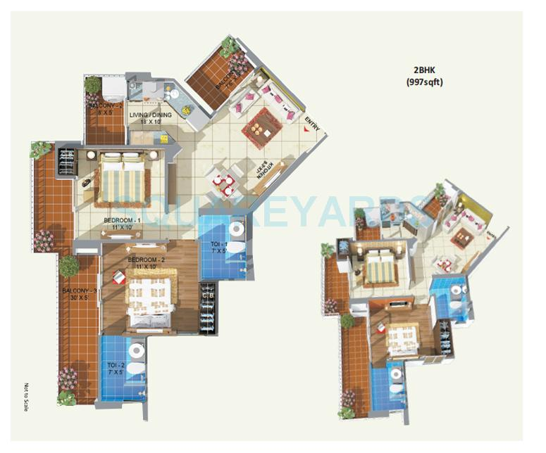 abcz rhythm country apartment 2bhk 997sqft 1