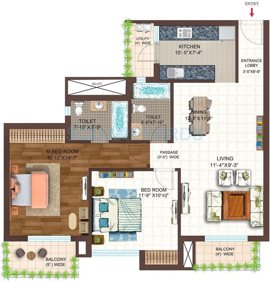 ace golf shire apartment 2bhk 1195sqft 1