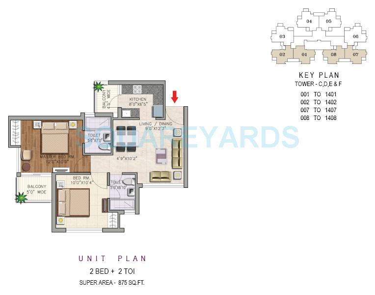 aditya urban casa apartment 2bhk 875sqft 1