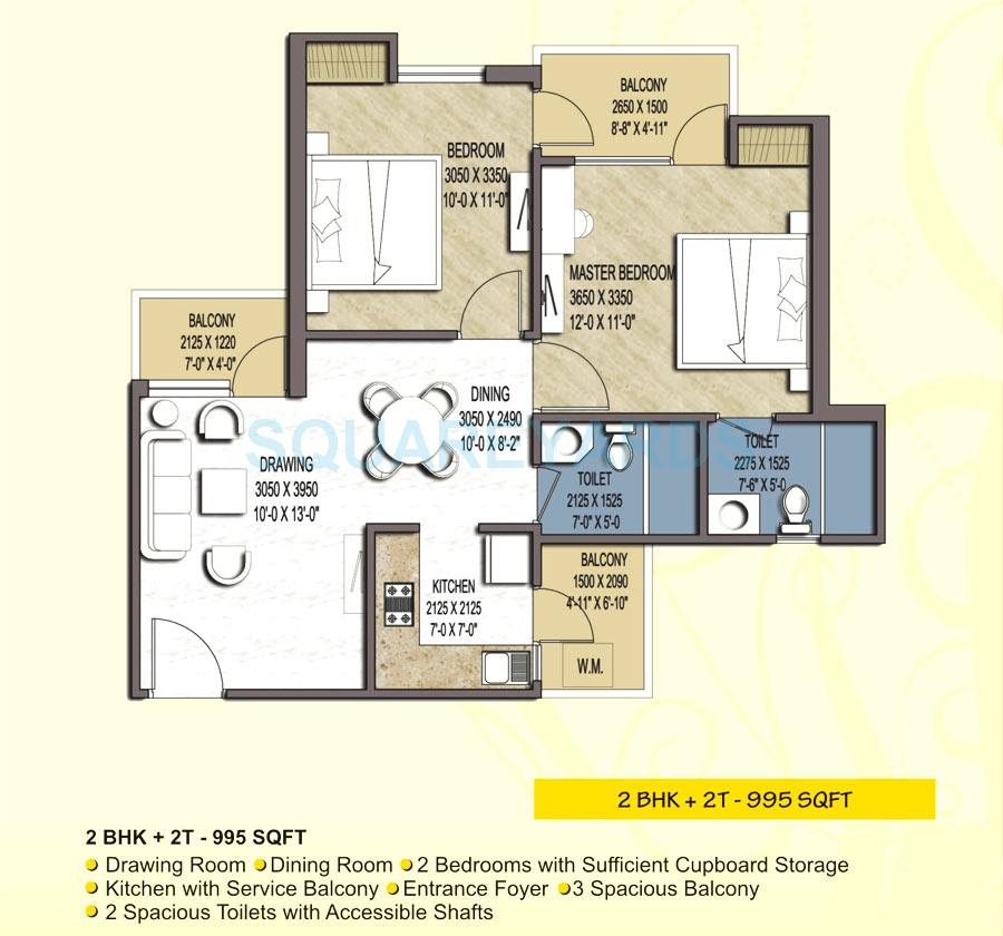 airwil green avenue apartment 2bhk 995sqft 1