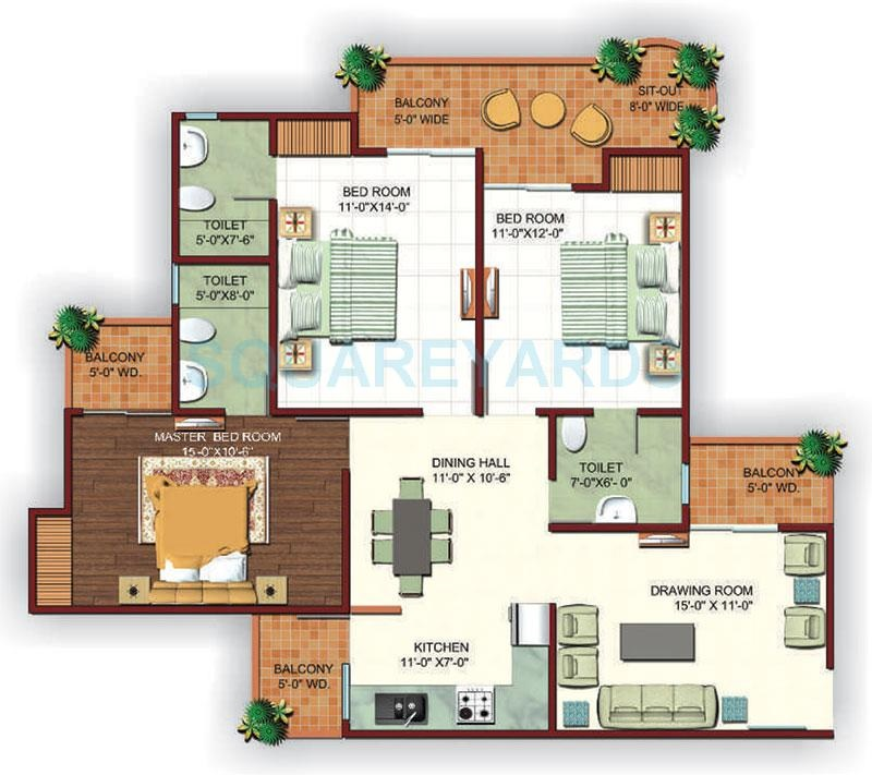 3 Bhk 1650 Sq Ft Apartment For Sale In Ajnara Ambrosia At Rs 4093 Sq Ft Noida