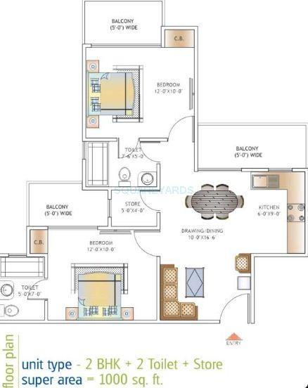 ajnara daffodil apartment 2bhk 1000sqft 1