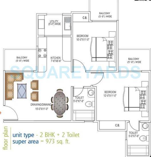 ajnara daffodil apartment 2bhk 973sqft 1