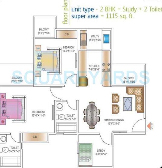 ajnara daffodil apartment 2bhk st 1115sqft 1