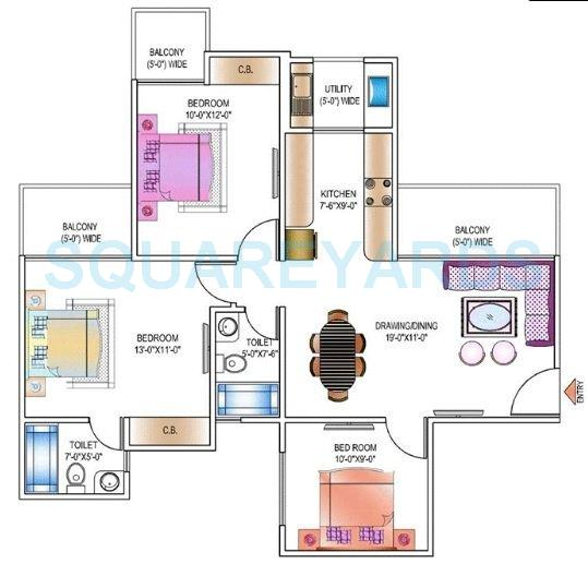 ajnara daffodil apartment 3bhk 1248sqft 1
