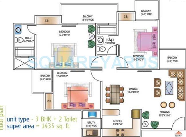 ajnara daffodil apartment 3bhk 1435sqft 1