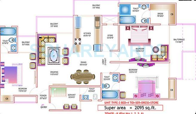 ajnara daffodil apartment 3bhk sq 2095sqft 1