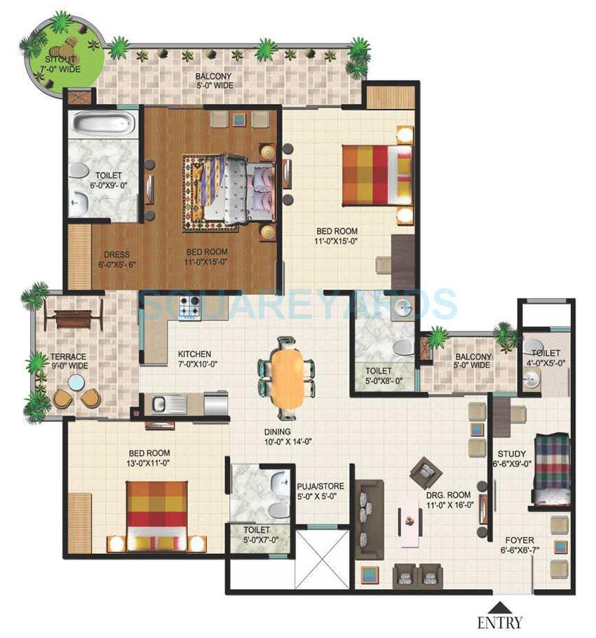 ajnara daffodil apartment 3bhk st 2045sqft 1