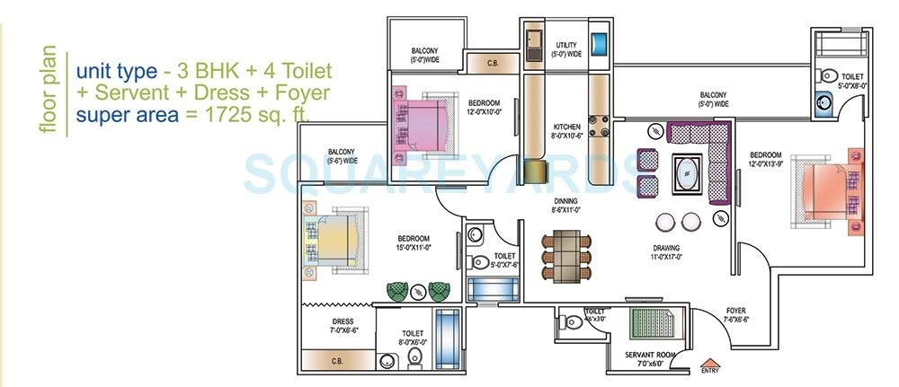 ajnara daffodil phase 2 apartment 3bhk 1725sqft 20203523123536